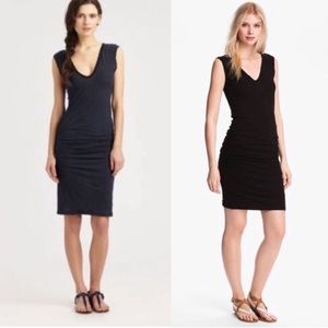 Standard James Perse Black Ruched Sleeveless Dress